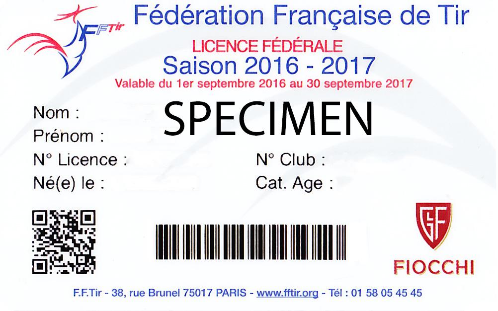 Licence de tir 2016-2017